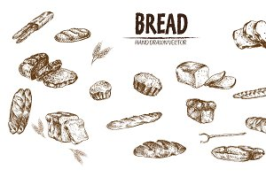 Bundle of 15 bread vector set 4