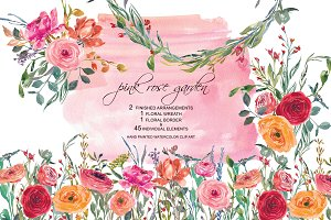 Watercolor Pink Peach Rose Set