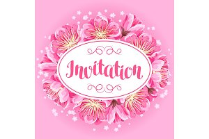 Invitation with sakura or cherry blossom. Floral japanese ornament of blooming flowers