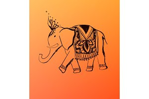 Vector hand drawn elephant. India style illustration.