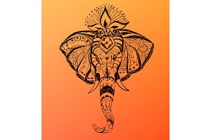 Vector hand drawn elephant's head. India style illustration.