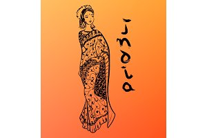 Vector hand drawn woman dressed in sari. India style illustration with calligraphy.