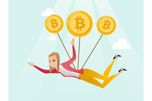 Caucasian business woman flying with bitcoin coins