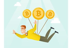 Caucasian businessman flying with bitcoin coins.