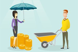 Caucasian business insurance agent with umbrella.