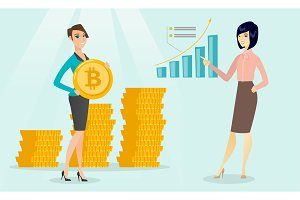 Business woman pointing at bitcoin growth graph.