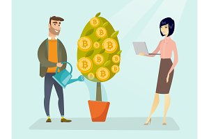 Businessman watering tree with bitcoin symbols.