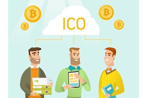 Three young caucasian men united by one ICO cloud.