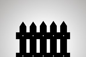 Fence silhouette, simple black icon