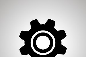 Gear silhouette, simple black icon