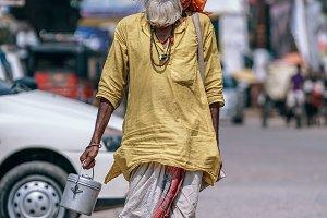 Indian Yogi Walking To The Temple
