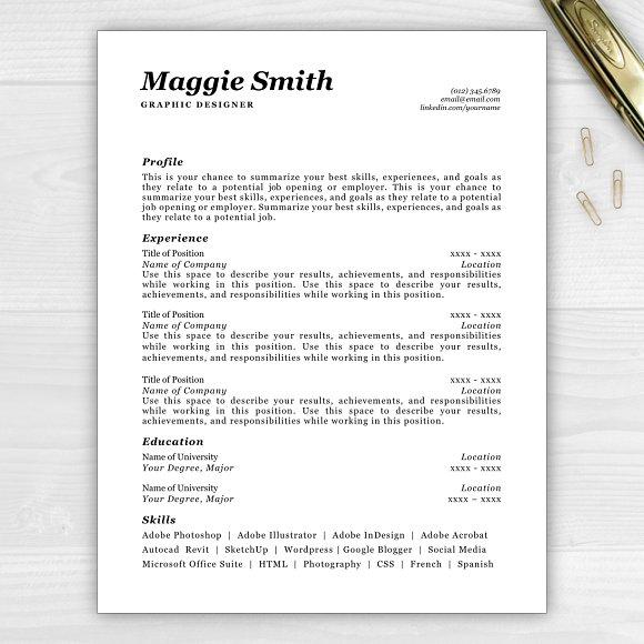 resumecv maggie resume templates creative market - Summarize Your Achievements