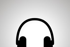 Headphones silhouette, simple icon