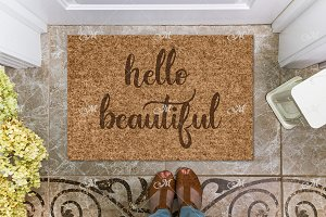 Hello Doormat Mock-up. PSD+JPG