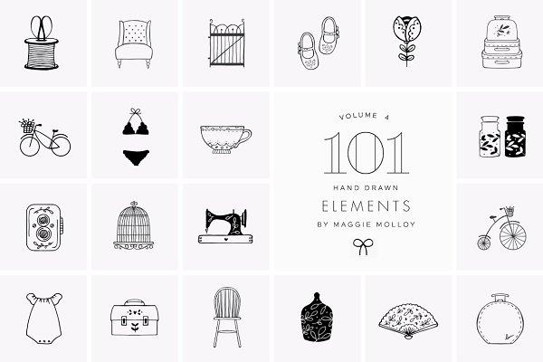 101 Hand Drawn Logo Elements EPS PS…
