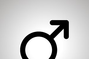 Men gender, simple black mars icon