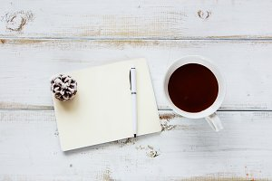 Hot chocolate and notebook