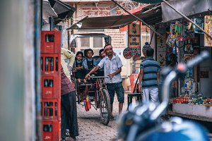 Rickshaw Driver Bringing Kids