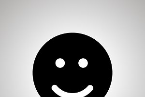 Smile silhouette, simple black icon