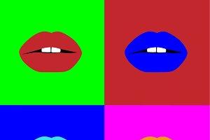 Pop art woman lips