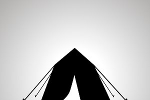 Tourist tent silhouette, simple icon
