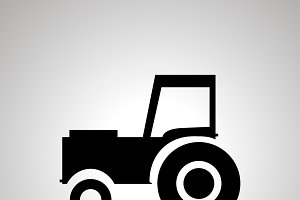 Tractor silhouette, side view icon