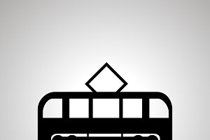 Tram silhouette, side view icon