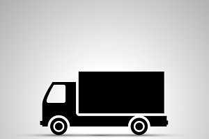 Truck silhouette, simple black icon