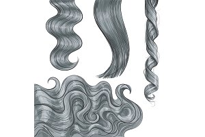 Shiny long grey, fair straight and wavy hair curls