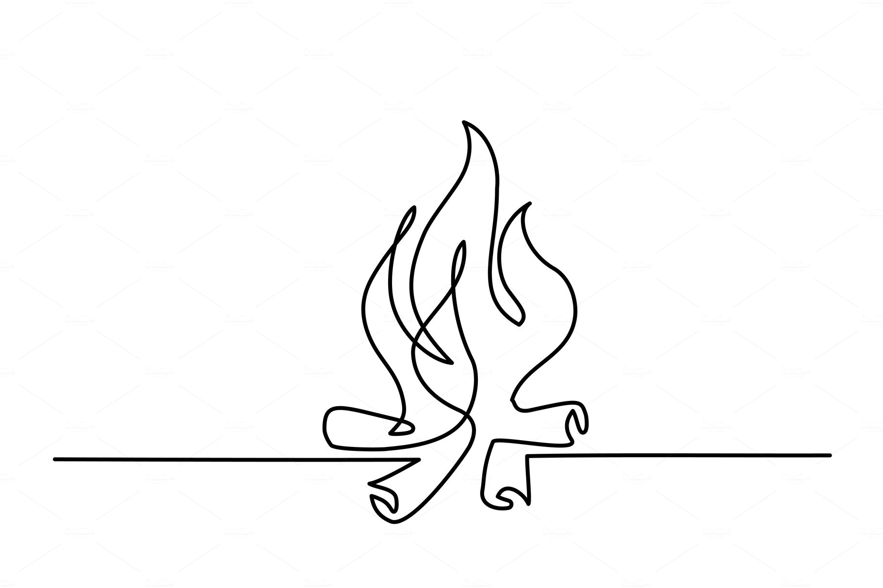 Fire outline icons line drawing ~ Illustrations ~ Creative
