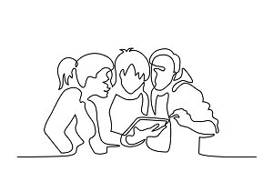 Happy friends browsing electronic tablet.
