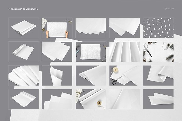 Wrapping Tissue Paper Mockup Set in Product Mockups - product preview 1