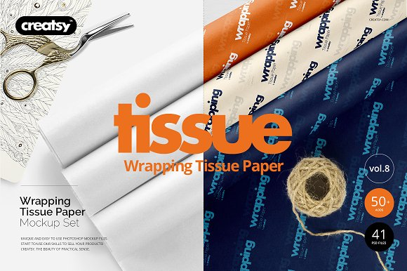 Wrapping Tissue Paper Mockup Set in Product Mockups - product preview 54