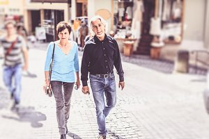Senior Couple Walking Through Tuebingen, Germany