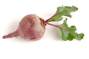 Beetroot with leaf isolated on white background