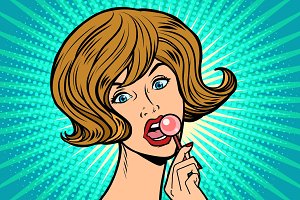 Beautiful woman licking Lollipop