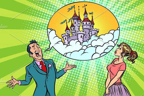 Confident Businessman Offers A Woman Fabulous Castle In The Sky