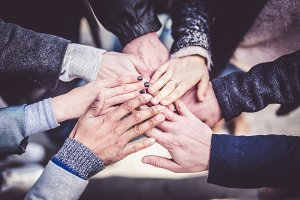 Seven Adults' Hands Together