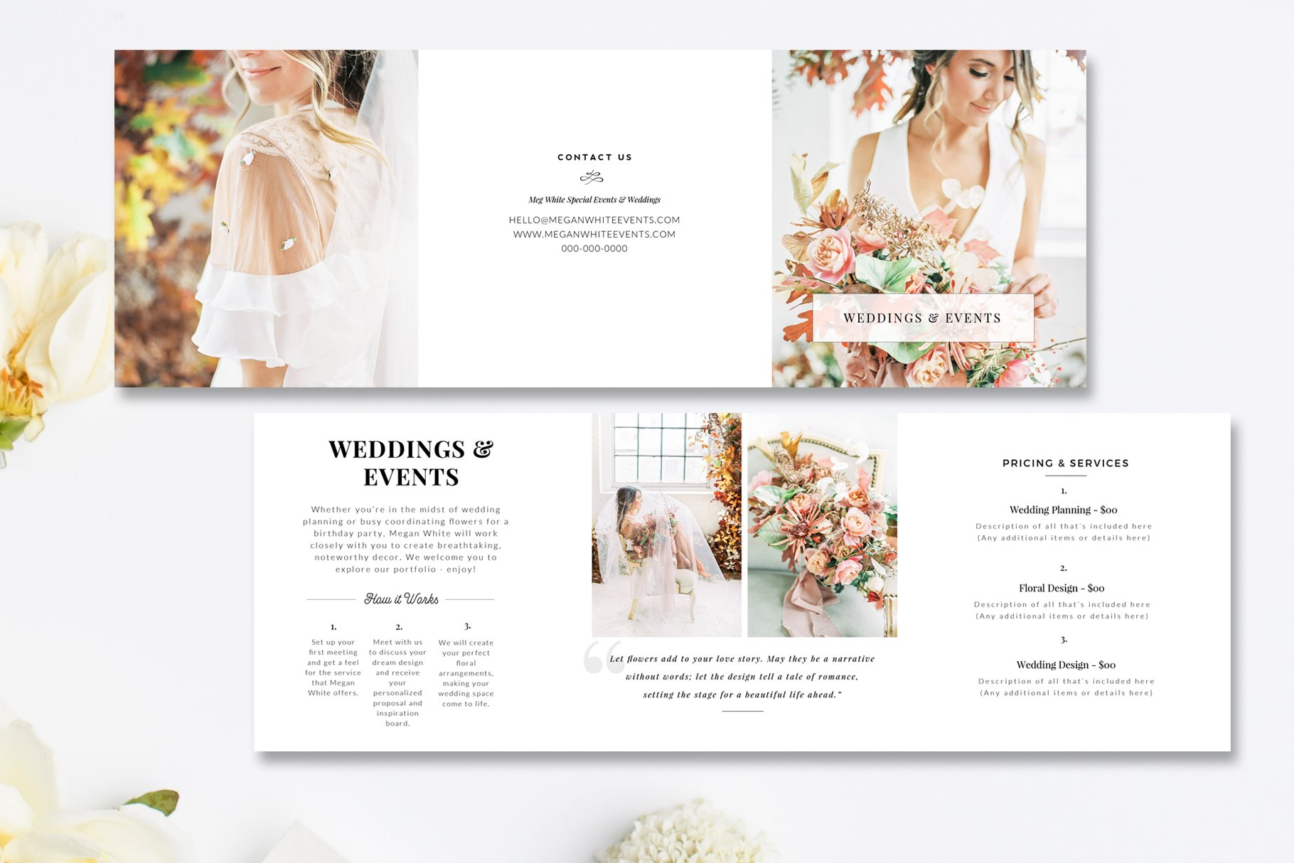 Florist tri fold brochure psd brochure templates for Wedding planner brochure template
