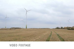 Many wind turbines in the field.