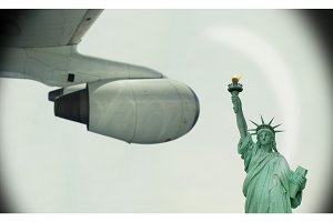 Travel By Plane To New York, Seeing Statue Of Liberty