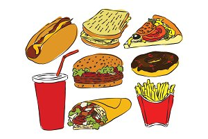 Sketch style fastfood