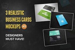 3 Realistic Business Card Mockups #3