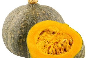 One whole and half pumpkin isolated