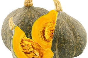 One whole and cut pumpkins isolated