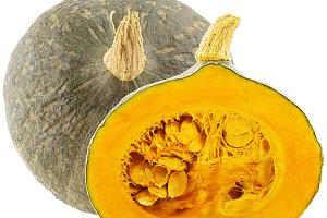 Isolated one whole and half pumpkin