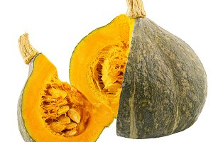 Cut pumpkin isolated on white