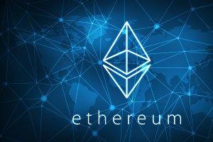 Ethereum symbol on futuristic hud banner.