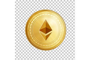 Golden ethereum coin symbol.