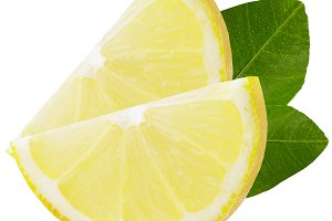 Two slices of lemon with leaves